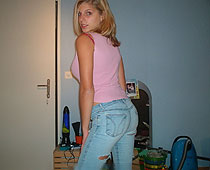 Torn jeans blondie